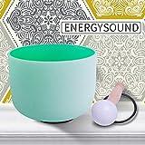 ENERGYSOUND Frosted F Heart Chakra Cuenco de canto de cristal de cuarzo de color verde 20 cm ---- Terapia de yoga Curación con sonido