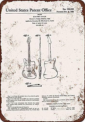 niet Clarence Fender Elektrische Gitaar Patent Tin Metalen Teken Plaque Vintage Retro IJzeren Muur Waarschuwing Poster Decor Voor Bar Cafe Store Thuis Garage Office Hotel