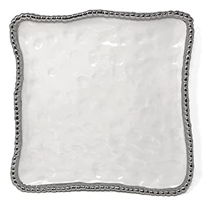 Pampa Bay Salerno Titanium-Plated Porcelain 11-inch Square Platter, White/Silver