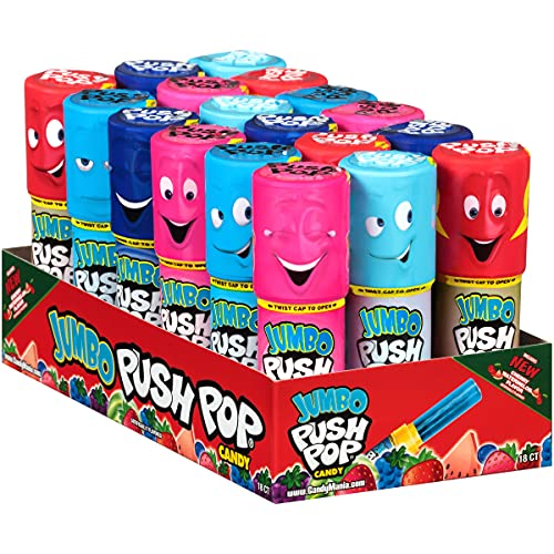 Push Pop Jumbo Candy Assortment Bulk raspberry, 19.08 Ounce (Pack of 18)