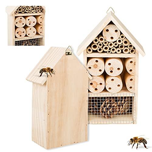 Smart Planet Insektenhotel 15cm x 25cm mit Halterung für eigenen Garten - Nistplatz als Überwitterungshilfe - Insektenhaus zum Naturschutz für Bienen