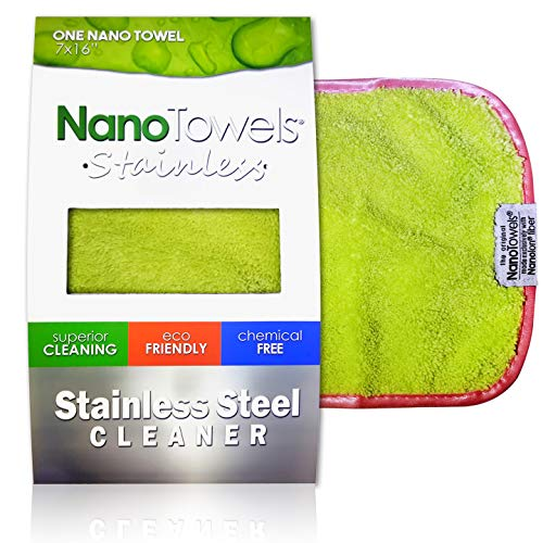 Nano Towels Stainless Steel Cleaner   The Amazing Chemical Free Stainless Steel Cleaning Reusable Wipe Cloth   Kid & Pet Safe   Light Green 7x16' (1 pc)