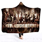 YEARGER Horror Movie Character Hooded Blanket for Adult Gothic Sherpa Fleece Wearable Throw Blanket Microfiber Bedding (145X195cm,B)