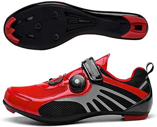 YURU Rennrad-Fahrradschuhe,MTB Leichte Atmungsaktive Fahrradschuhe,Rennrad-Fahrradschuhe,Red-39