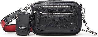 Desigual Womens BOLS_Embossed Half CAMBR Across Body Bag, Black, One Size