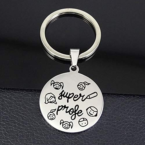 N/ A leraar sleutelhanger uniek roestvrij staal disc sieraad beste souvenir geschenk voor leraren