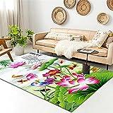 decoracion habitacion Verde Alfombra de estar Alfombra Roja Lotus Modelo Minimalista con alfombras duraderas se pueden lavar alfombras pie de cama 160x200cm dormitorios juveniles 5ft 3''X6ft 6.7''