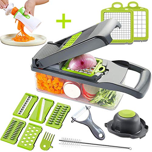 Mandoline Slicer Adjustable Cheese SlicerVegetable Chopper Hand SpiralizerPotato Spiral Cutter Garlic Onion Dicer Fruit PeelerVeggie SlicerPasta Zucchini Noodle MakerSalad ShooterFood Processor