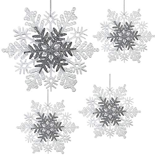 BANBERRY DESIGNS Large Snowflake Christmas Ornaments - Pack of 4 White and Silver Glittered Snowflake Decorations – Each is 8.5' D