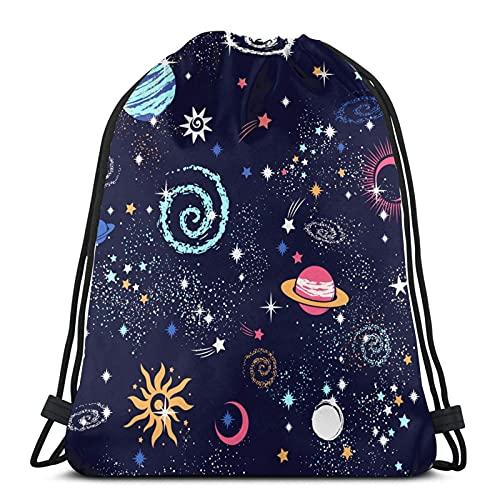 Lmtt Bolsas con cordón Mochila Bolsa de almacenamiento Bolsa Viaje Deporte Gimnasio Mochila Universo Planet Colorful