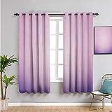 Cortina de aislamiento térmico de lavanda, cortinas de 160 cm de largo, color rosa y morado degradado, diseño moderno de degradado, arte digital, cortina de baño, 163 x 163 cm, rosa pálido y lila