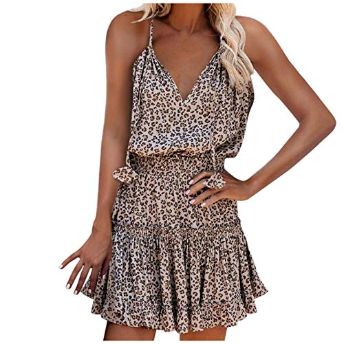 Zzbeans Sommerkleid Damen Kurz, V-Ausschnitt Sexy Kleider Boho Kleidung Damen Ärmelloses Kleid Blumendruck Vintage Kleid Strandkleid Damen Summer