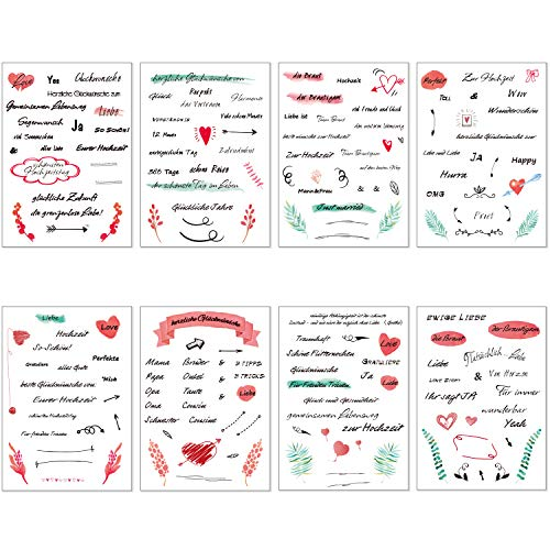 Zalava Gästebuch Hochzeits Sticker sprüche Aufkleber 150 Sticker schöne und liebevolle Watercolors Design