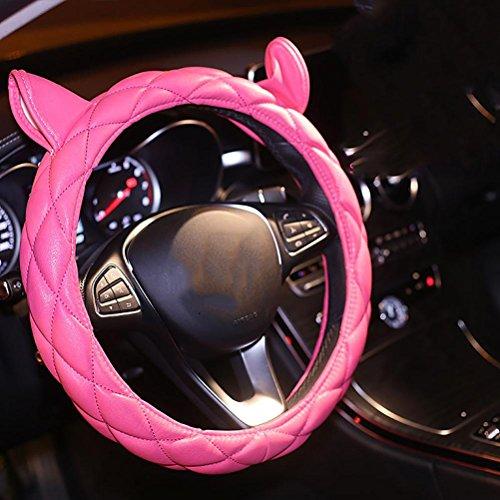 RUIRUI Cuir PU de Haute qualité, Couvercle de Volant de Voiture très Mignon, Pink