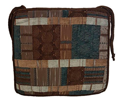 Homestreet Galette de chaise carrée en tissu à motifs, motif marocain, tissu chenille épais et mélange de tissu fabriqué au Royaume-Uni par (Azure).