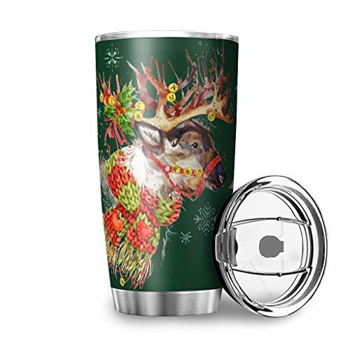 Stainless Steel Christmas Deer Tumblers Water Bottle Dual-Wall Vacuum Stain Resistant - Mug with Closing Lid White 30oz