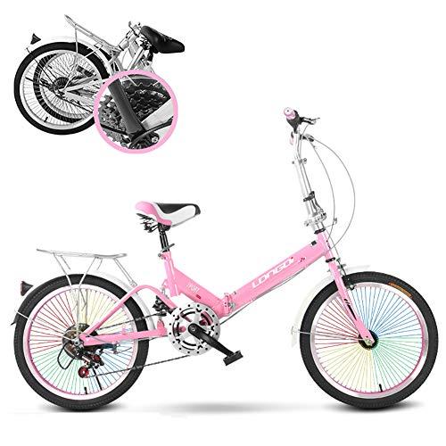 20 Pulgadas Bicicleta Plegable,Absorción De Impactos Ligero Bicicleta Plegable para Mujeres Y Hombres,con Radios De Colores 6 Velocidad Adultos Bicicleta