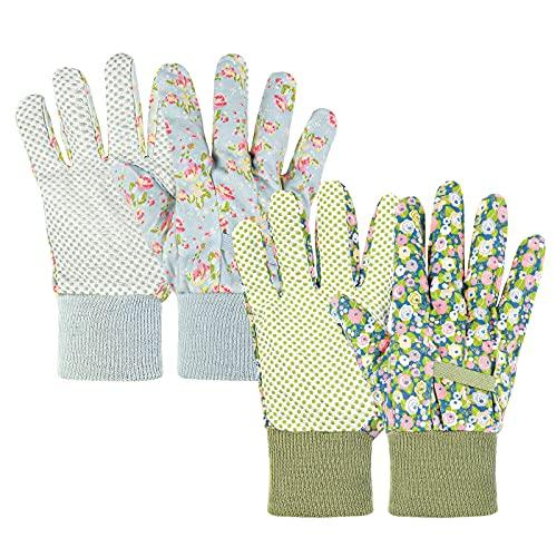 Ainiv Handschuhe für Garten, 2er Set Gartenhandschuhe, Antirutschbeschichtung Arbeitshandschuhe, Einheitsgröße Arbeitshandschuhe mit PVC-Punkten und reißfester Canvas-Stulpe Zum pflanz & Gartenarbeit