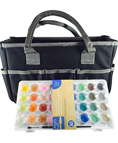 Artist's Loft Fundamentals Art Organizer Tote Bag (Black) and 36 Water Color Pan Set (Bundle Pack)