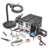 4 IN 1 - 'X-TRONIC' MODEL #8080-XTS - HOT AIR REWORK & SOLDERING IRON STATION (CELSIUS/FAHRENHEIT), 30V-5A DC POWER SUPPLY & 50V-5A DC TEST METER - 10 SOLDERING TIPS - 4 HOT AIR NOZZLES - 1 ANTI-MAGNETIC TWEEZERS - 1 5X MAGNIFYING LAMP!!!