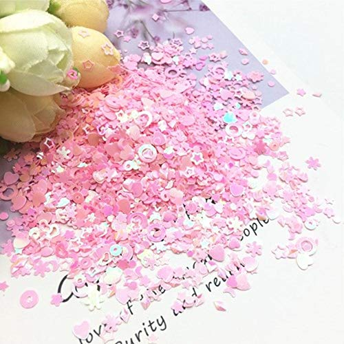 Mix Star Heart Plum Dot Shape Sequin 1-5mm Multicolor Nail PVC Losse pailletten DIY Nail Art Confetti Wedding Decor 10g, Mix Size Pink