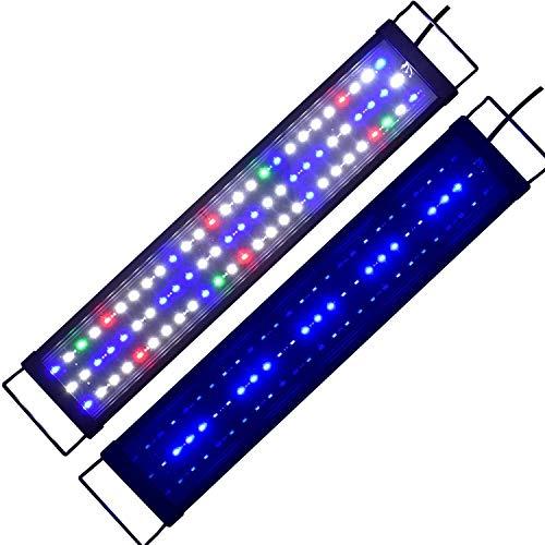 5730SMD Dimmbar LED Aquarium Beleuchtung mit Zeitsteurung Aquarium Lampe Fisch Tank Süß/Meerwasser voll Spectrum Reef Coral Fish Wasserpflanzen Aquariumleuchte Aufsetzleuchte 90-120CM