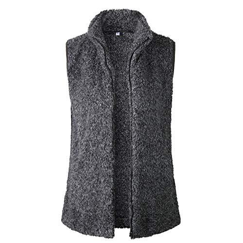 SKEPO dames vest gewatteerde sherpa fleece mouwloos winter warme hoodie outwear jas rits jas met opstaande kraag