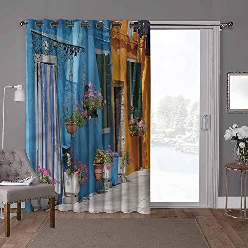 YUAZHOQI Cortina térmica para puerta corredera, toscana, fachada de entrada de casa retro, 100 x 200 cm de ancho x 200 cm de largo persiana vertical para sala de estar (1 panel)