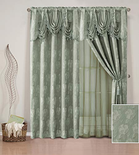 Elegant Home Window Curtain Drapes All-in-One Set with Valance & Sheer Backing & Tassels for Living Room, Bedroom, Dining Room, and Sliding Doors - Celeste (Sage)