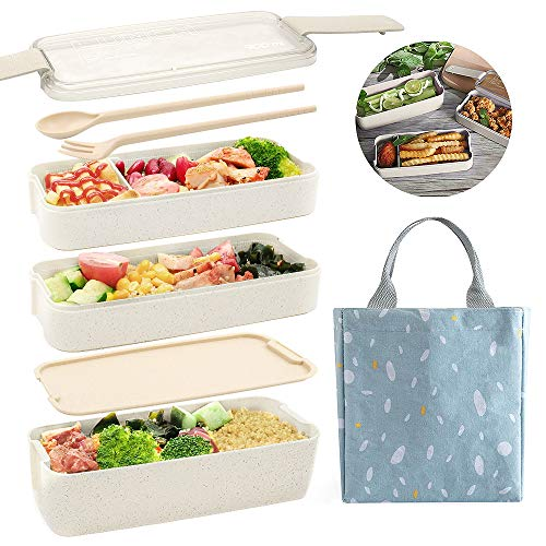 Ozazuco Bento Box Japanese Lunch Box,3-In-1 Compartment - Wheat Straw, Leakproof Eco-Friendly...