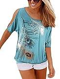 Yidarton Sommer Damen T Shirt Weg von der Schulter Kurzarm Feder Druck Muster Oberteile Tops Blusen Shirt (XL, N-Grün)
