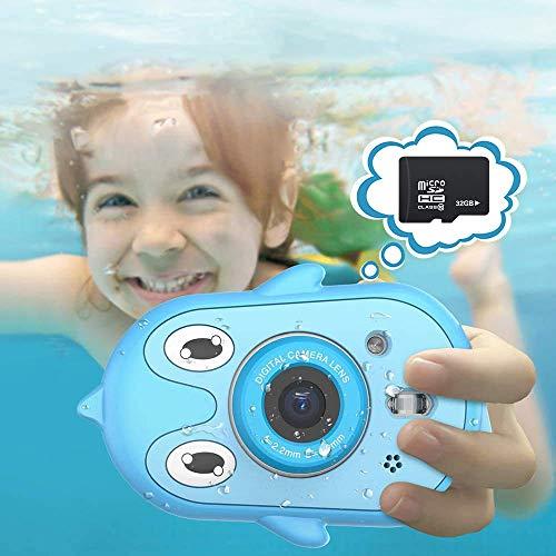 Telecamera impermeabile per bambini da 2,4 pollici IPS, schermo HD, Videoregistratore d'azione prescolare, per bambini di 3-9 anni, fotocamera giocattolo, regalo con microfono e funzione MP3 (blue)