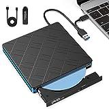 TedGem Lettore Dvd, Portatile Lettore CD, Type-C USB 3.0 Masterizzatore, unità CD-Rom/Dvd-RW Lettore Masterizzazione per Windows XP / 7/8/10 / Linux (Regalo: con Un Lettore di Schede)