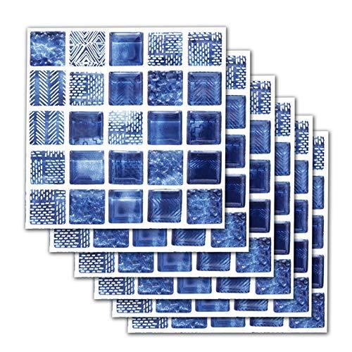 PIGMAMA La Imitación Azulejo De La Pared, Regalo Auto Adhesivo Mosaico Prueba De Aceite De Color Resistente Al Agua Decoración Rápida para El Hogar Sala De Estar Dormitorio Cocina Baño Azul, 20x20cm