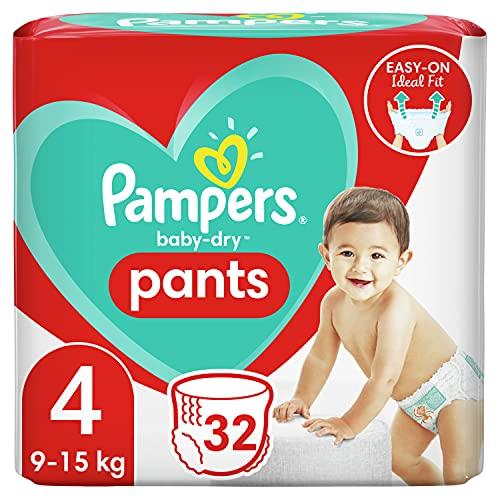 Pampers Baby-Dry Pants 4, 32 Höschenwindeln, Einfaches An- und Ausziehen, Zuverlässige Pampers Trockenheit, 9-15kg