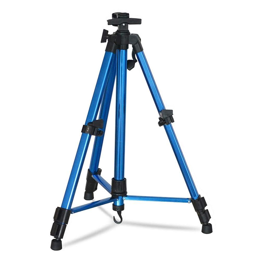 デッドロックナビゲーション賢明なSHWSM 、マルチカラーオプションを使用するには、大人の生徒に適したアルミ製折りたたみ手イーゼル、ポータブルイーゼル三角形アウトペイントツール、 イーゼル (色 : 青)