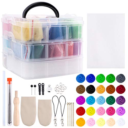 Kits de inicio de fieltro de aguja para adultos 25 colores kit de fieltro de aguja para principiantes con herramientas básicas de fieltro y suministros de lana de 3g para proyectos de manualidades