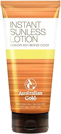 Australian Gold Instant Sunless Tanning Lotion, Rich Bronze Color w/ Fade Defy Technology, Energizes & Softens Skin, Nutrient Rich Kakadu Plum & Vitamin B, Reef Safe Sunscreen, Cruelty Free, 6 Ounce