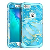 Casetego for iPhone 6S Case,iPhone 6 Case,Heavy Duty Shockproof 3 Layer Hard PC+Soft Silicone Bumper Rugged Anti-Slip Protective Cases for Apple iPhone 6/6S,Blue Marble