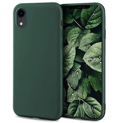 Moozy Minimalist Series, Cover in Silicone per iPhone XR, Verde Notte - Finitura Opaca, Custodia Sottile e Morbida in TPU