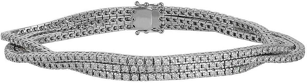 Bracciale tennis in oro bianco 18k con diamanti ct 4,20.gioielli di valenza DTENQ01X3BB