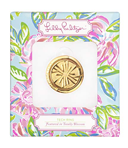 Lilly Pulitzer Cell Phone Gold Metal Stability Tech Ring, Citrus