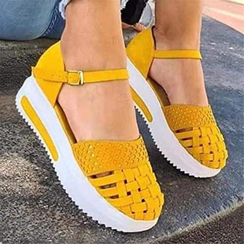 XKDWAN Sandalia para Mujer Verano 2021 Talon Cierre Hebilla Primavera Sandalias Plataforma de Playa Cómodo Ligero Casual Sandalia para Caminar al Aire Libre,Amarillo,37