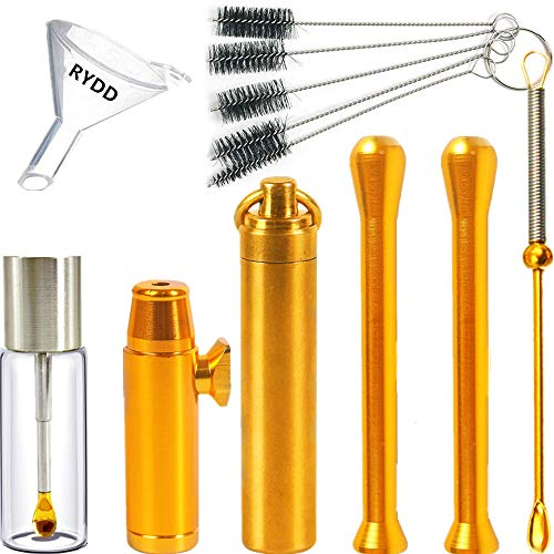 Copper snuff bottle Copper spoon Snuff bullet Glass bottle with spoon Suction Tube Cleaning brush Funnel(8pack)