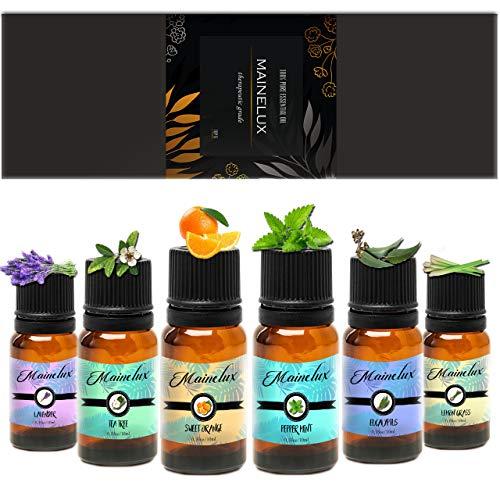 MAINELUX Aceites Esenciales para Humidificador, 100% Natural Puro Aromaterapia Top 6 Set de Regalo de Aceites Aromáticos 6 x 10 ml (Lavanda Hierba de Limón Menta Eucalipto Árbol de té y Naranja dulce)