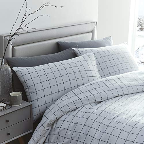 Silentnight Brushed Cotton Check Duvet Cover and Pillowcase Pair Bedding Set, White, King