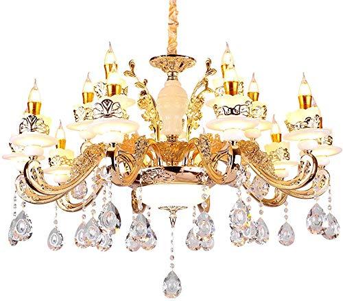 PLLP Haushalt Kronleuchter, Neuheit-Beleuchtung, Kronleuchter Kreative Kerze Kristallbeleuchtung Europäische Zink-Legierung Jade Kronleuchter Wohnzimmer Esszimmer Schlafzimmer Lampen,10 + 5