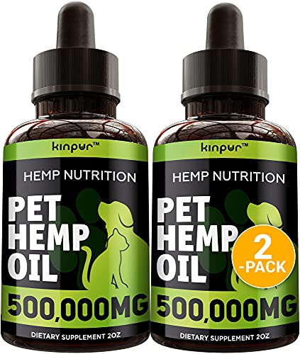 (2 Pack) Hemp Oil for Dogs and Cats - 500,000 - Calming Mood - Hip and Joint Support - Natural Pet Hemp Oil with Omega 3, 6, 9 - Made in the Usa - Calming Treats for Dogs