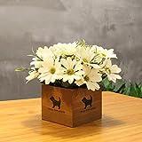 LLPXCC Flores artificiales Creativo casa floral mesa de comedor salón moderno sencillo unión flores decorativas de madera jarrones plantas flores de plástico matrimonio estudio crisantemo blanco