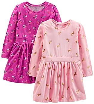 Simple Joys by Carter s Girls  Toddler 2-Pack Long-Sleeve Dress Set Floral/horses 3T